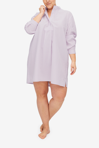 Short Sleep Shirt Lilac Seersucker Stripe PLUS