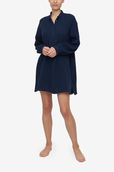 Short Sleep Shirt Navy Double Gauze