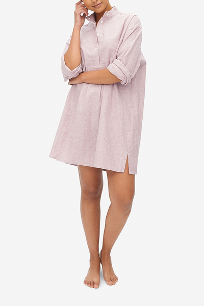 Short Sleep Shirt Blush Linen