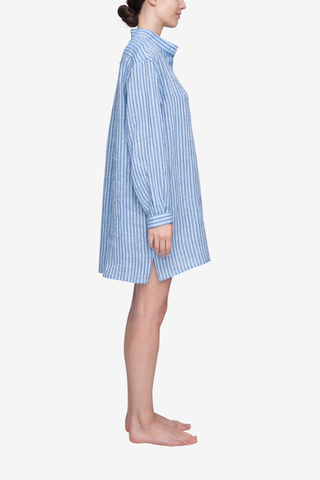Short Sleep Shirt Double Blue Stripe Linen