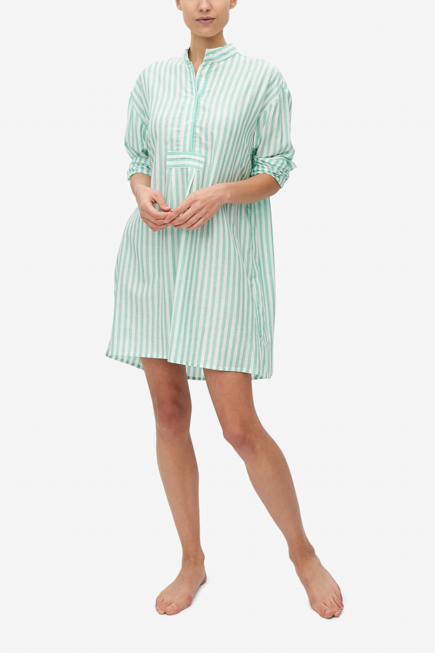 Short Sleep Shirt Green Stripe Twill