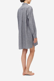 Short Sleep Shirt Grey Chambray Linen