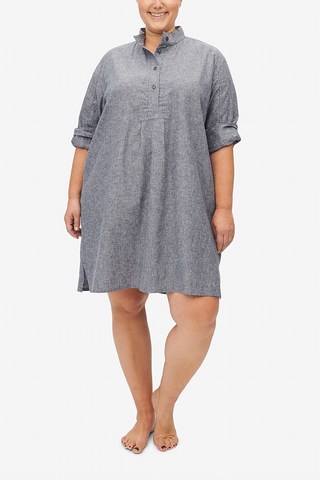 Short Sleep Shirt Grey Chambray Linen PLUS
