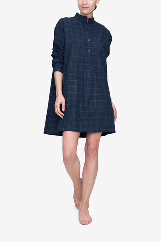 front view classic short sleep shirt navy windowpane flannel cotton by the Sleep Shirt