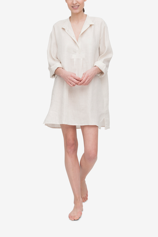 front view classic short sleep shirt in oatmeal linen by The Sleep Shirt
