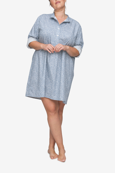 front view classic short sleep shirt Plus size in blue drawn flowers cotton by the Sleep Shirt