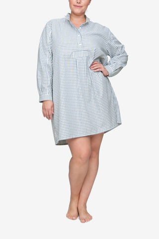 front view classic short sleep shirt plus size in navy shepherds check cotton by the Sleep Shirt