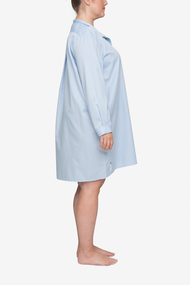 Short Sleep Shirt Soft Blue Stripe PLUS