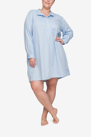 front view classic short sleep shirt plus size in soft blue stripe cotton by the Sleep Shirt