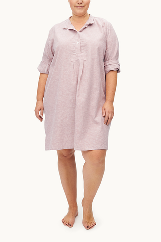 Short Sleep Shirt Blush Linen PLUS