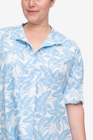 Short Sleep Shirt Blue Tropical Print PLUS