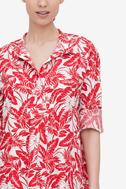 Short Sleep Shirt Red Tropical Print
