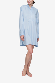 front view classic short sleep shirt in soft blue stripe cotton by the Sleep Shirt
