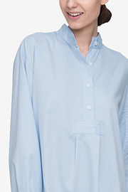 Short Sleep Shirt Soft Blue Stripe