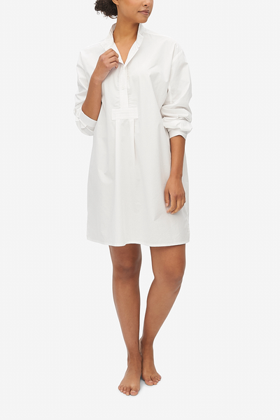 Short Sleep Shirt Washed White Poplin