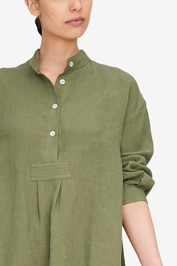 Short Sleep Shirt Sage Linen