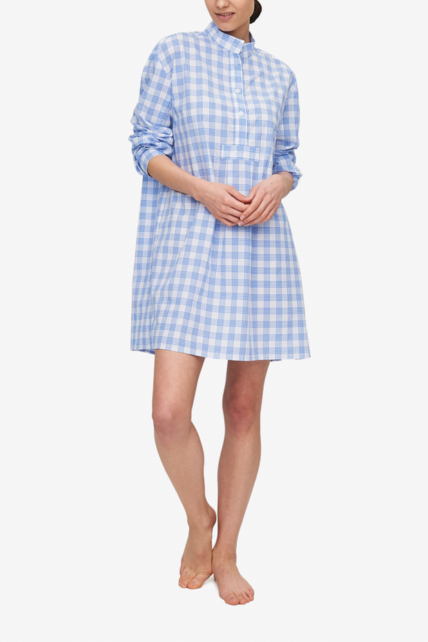 front view classic short sleep shirt blue white plaid cotton by the Sleep Shirt