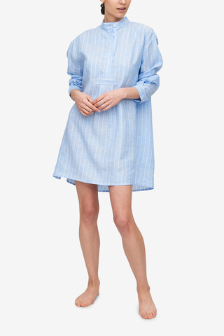 front view classic short sleep shirt blue with white stripe linen by the Sleep Shirt