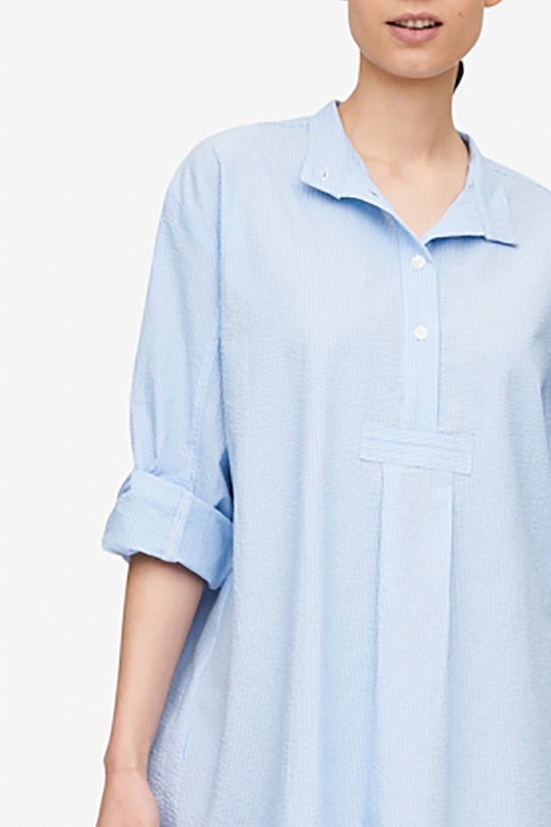 Short Sleep Shirt Light Blue Pinstripe Seersucker