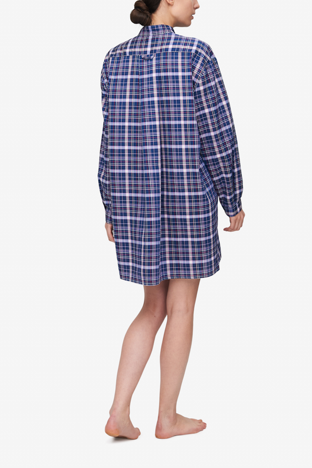 Short Sleep Shirt Navy & Pink Check