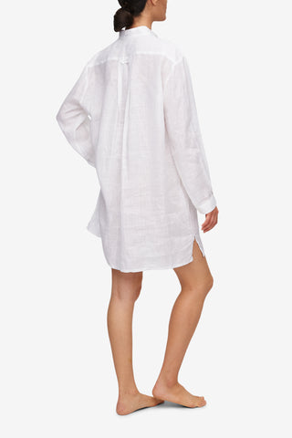 Short Sleep Shirt White Linen