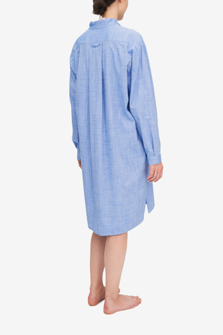 Long Sleep Shirt Medium Blue Dobby