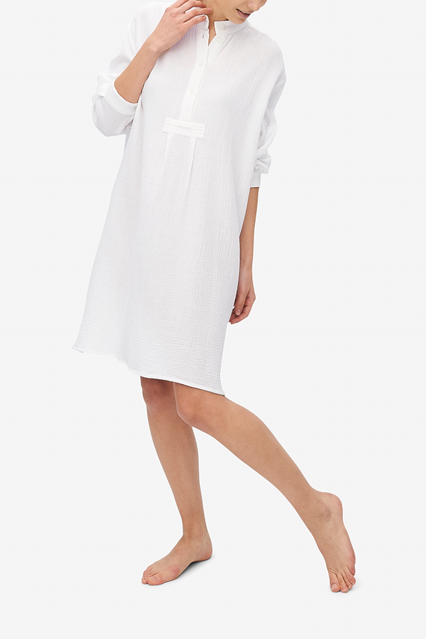Long Sleep Shirt White Double Gauze