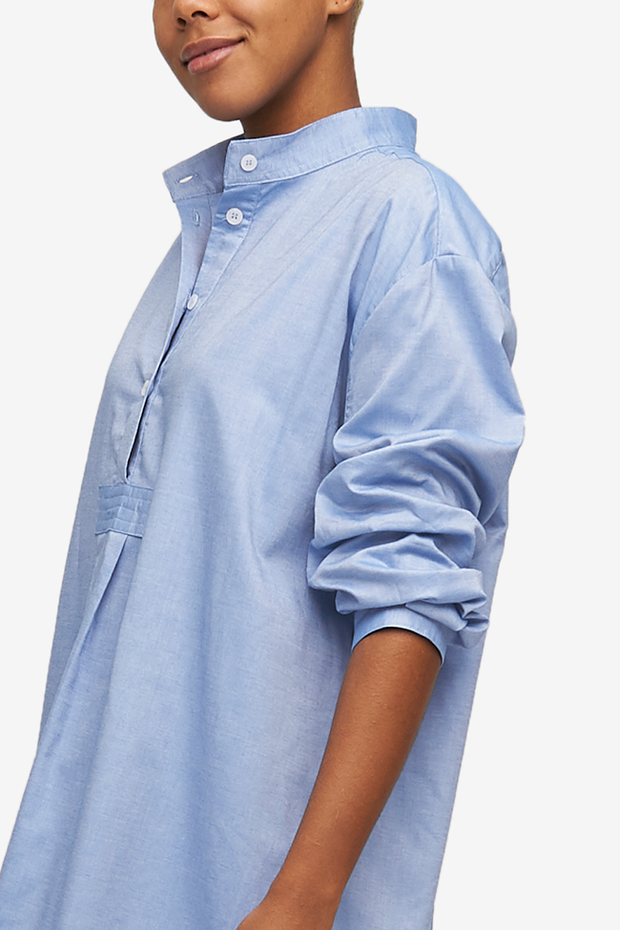 Long Sleep Shirt Blue Classic Oxford