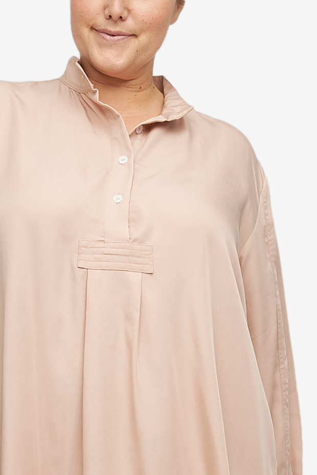 Long Sleep Shirt Blush Tencel Twill PLUS