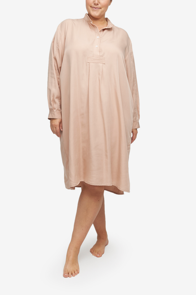 Plus Size Long Sleep Shirt in a blush pink tencel fabric. Long, cuffed sleeves and a stand collar make this chic  without losing comfort.