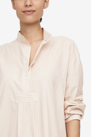 Long Sleep Shirt Cream Silk Blend Stripe