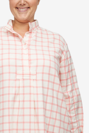 Long Sleep Shirt Pink Check Flannel PLUS