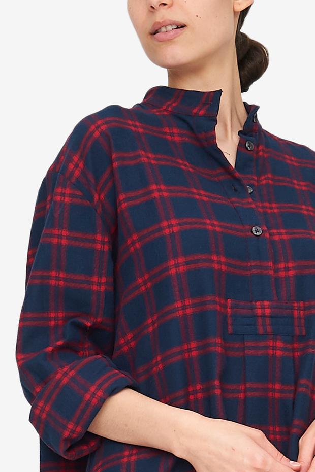 Long Sleep Shirt Red & Navy Check Flannel