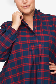 Long Sleep Shirt Red & Navy Check Flannel PLUS