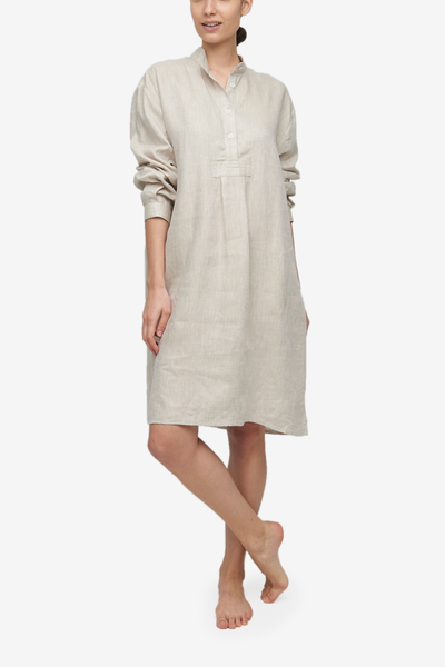 Long Sleep Shirt Sand Linen