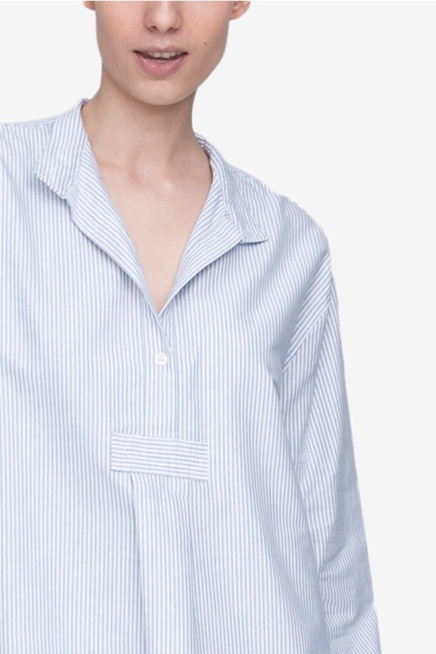Long Sleep Shirt Blue Oxford Stripe