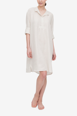 Long Sleep Shirt Oatmeal Linen
