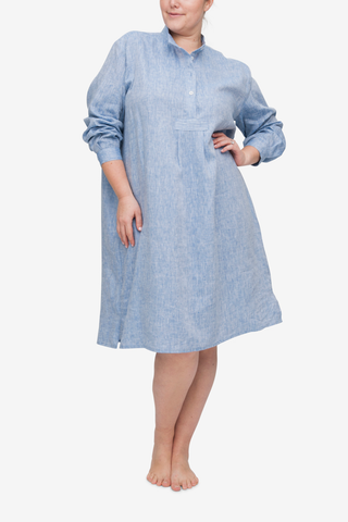Long Sleep Shirt Blue Linen PLUS