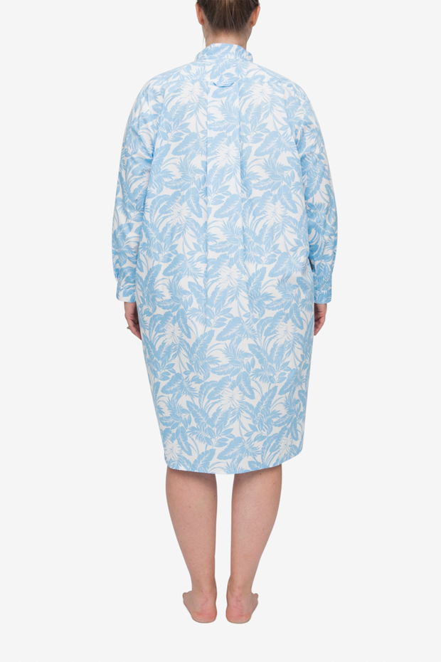 Long Sleep Shirt Blue Tropical Print PLUS