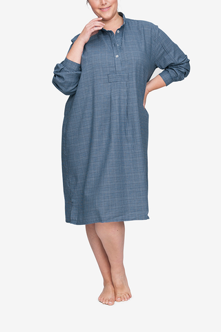 front view classic long sleep shirt light and dark blue plaid cotton plus size by the Sleep Shirt