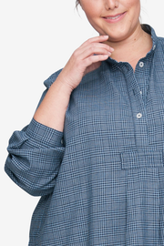 Long Sleep Shirt Light & Dark Blue Check PLUS