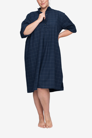 front view classic long sleep shirt plus size navy windowpane flannel cotton by the Sleep Shirt