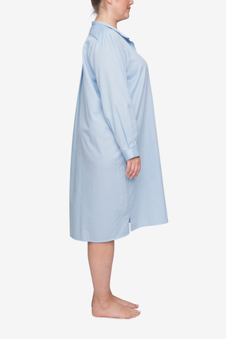 Long Sleep Shirt Soft Blue Stripe PLUS