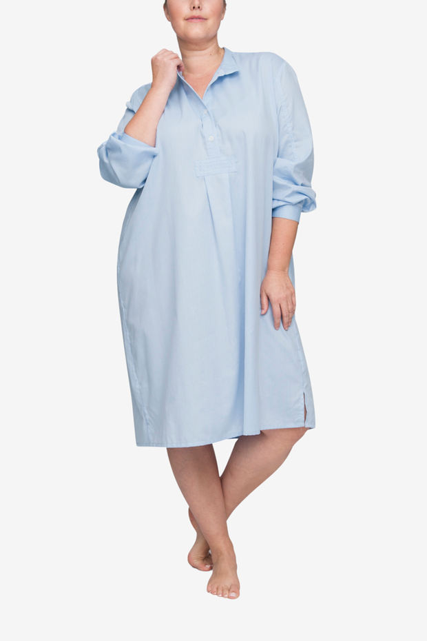 front view classic long sleep shirt plus size soft blue stripe cotton by the Sleep Shirt