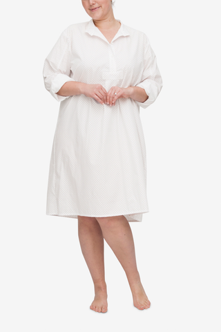 front view of plus size long sleep shirt in white with red dot cotton by The Sleep Shirt