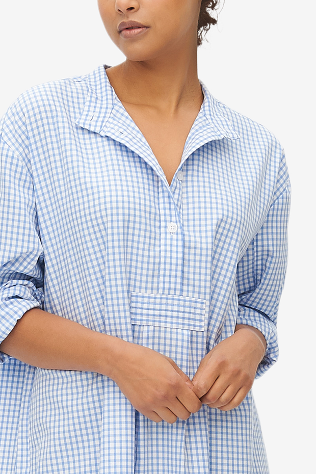 Long Sleep Shirt Periwinkle Gingham