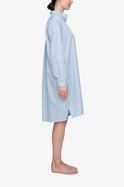 Long Sleep Shirt Soft Blue Stripe