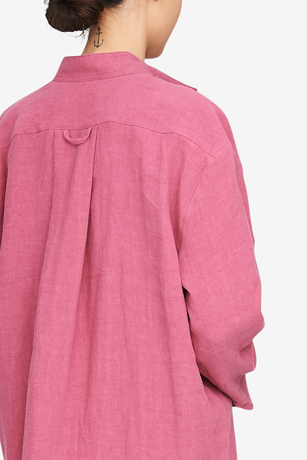Long Sleep Shirt Rose Washed Linen