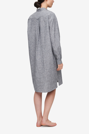 Long Sleep Shirt Grey Chambray Linen