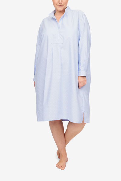 front view classic long sleep shirt plus size blue and white oxford dot cotton by the Sleep Shirt